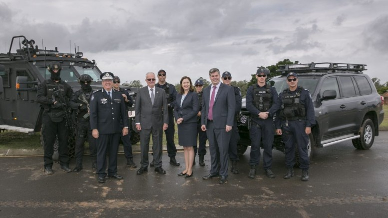 Commissioner Stewart, former Commissioner Bob Atkinson, Premier Palaszczuk and Minister Ryan.